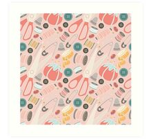 Suddenly Sewing in Pink Art Print