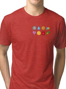 Gym Badges: Indigo League (Pokémon) Tri-blend T-Shirt