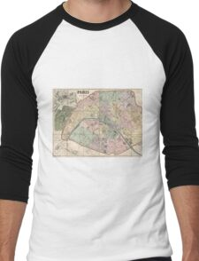Vinage Map of Paris France (1878) Men's Baseball ¾ T-Shirt