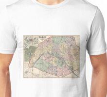 Vinage Map of Paris France (1878) Unisex T-Shirt