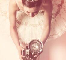 Ballerina with vintage camera Sticker