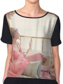 vintage woman on the bed  Chiffon Top