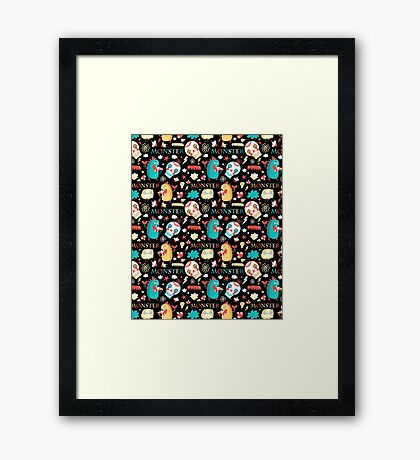Seamless jolly pattern with monsters Framed Print