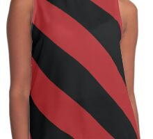 Louisville Kentucky Red & Black Sports Team Color Stripes Contrast Tank