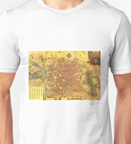 Vintage Map of Madrid Spain (1656) Unisex T-Shirt