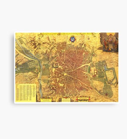 Vintage Map of Madrid Spain (1656) Canvas Print