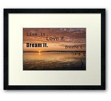 live it - dream it Framed Print