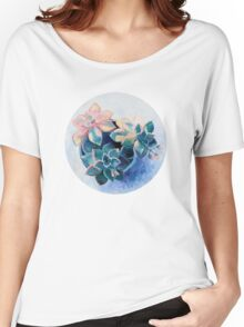 Pastel Succulents - an oil painting on canvas Women's Relaxed Fit T-Shirt
