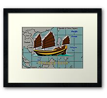 A Chinese Junk on a Map of the South China Sea Framed Print
