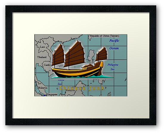 A Chinese Junk on a Map of the South China Sea by Dennis Melling