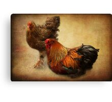 Rooster and hen Canvas Print
