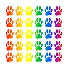 Rainbow Paw Prints  Pattern by Almdrs