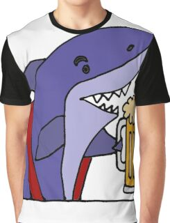 Cool Funky Funny Shark Drinking Beer Graphic T-Shirt