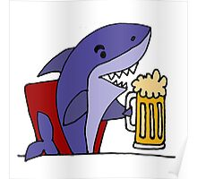 Cool Funky Funny Shark Drinking Beer Poster