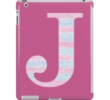 Letter J Blue And Pink Dots And Dashes Monogram Initial iPad Case/Skin