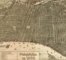 Vintage Pictorial Map of Philadelphia PA (1888) Sticker
