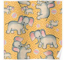 Cute Baby Elephant pattern vintage illustration for children Poster