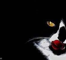Tuxedo Kitty Lick by Denise Sevier-Fries