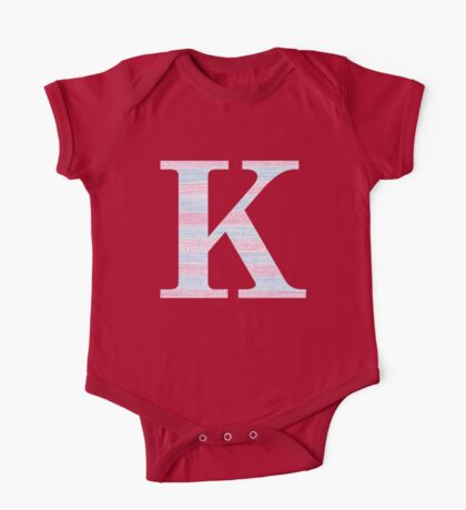 Letter K Blue And Pink Dots And Dashes Monogram Initial One Piece - Short Sleeve