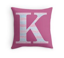 Letter K Blue And Pink Dots And Dashes Monogram Initial Throw Pillow