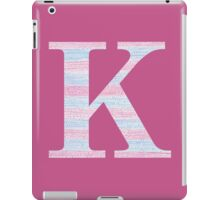 Letter K Blue And Pink Dots And Dashes Monogram Initial iPad Case/Skin