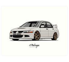 Mitsubishi Lancer Evolution VIII (white) Art Print