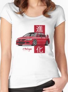 Mitsubishi Lancer Evolution VIII (red) Women's Fitted Scoop T-Shirt