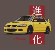 Mitsubishi Lancer Evolution VIII (Yellow) One Piece - Short Sleeve
