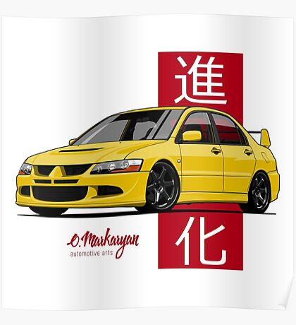 Mitsubishi Lancer Evolution VIII (Yellow) Poster