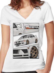 Mitsubishi Lancer Evolution VIII (white) Women's Fitted V-Neck T-Shirt