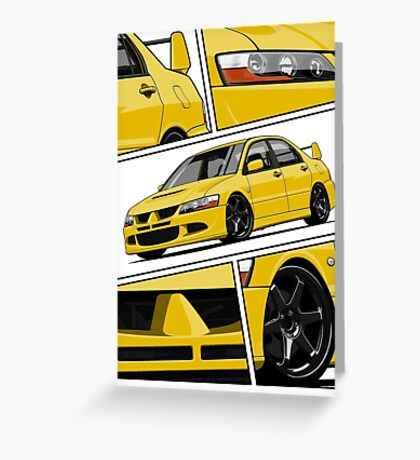 Mitsubishi Lancer Evolution VIII (Yellow) Greeting Card