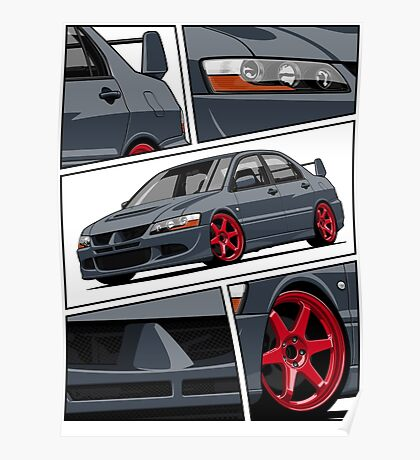 Mitsubishi Lancer Evolution VIII (gray) Poster