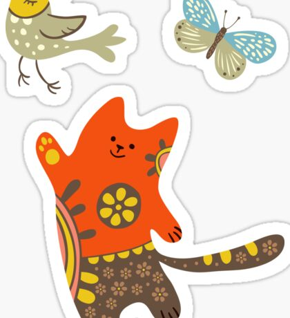 The cat catching a bird. Sticker