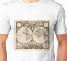 Vintage Map of The World (1672) Unisex T-Shirt