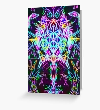 Neon Mandala Greeting Card