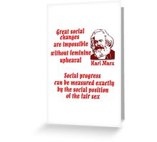 Karl Marx on Women Greeting Card