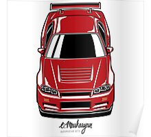 Nissan Skyline R34 GT-R (red) Poster
