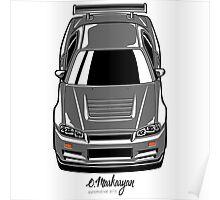 Nissan Skyline R34 GT-R (grey) Poster