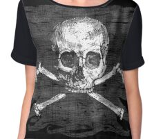 Old Crossbones Skull Pirate Flag Chiffon Top