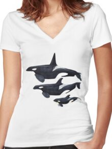 Orca Women's Fitted V-Neck T-Shirt