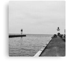 Black and White Pier Canvas Print