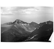 Longs Peak Rocky Mountain National Park BW Poster