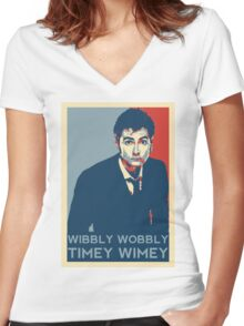 Wibbly Wobbly Timey Wimey Women's Fitted V-Neck T-Shirt