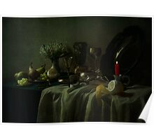Still life with metal dishes, fruits and fresh flowers Poster