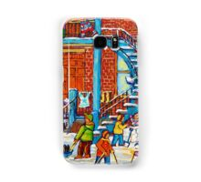 MONTREAL WINTER SCENE PORCHES AND BALCONIES STREET HOCKEY CANADIAN ART Samsung Galaxy Case/Skin