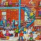 MONTREAL WINTER SCENE PORCHES AND BALCONIES STREET HOCKEY CANADIAN ART by Carole  Spandau