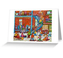 MONTREAL WINTER SCENE PORCHES AND BALCONIES STREET HOCKEY CANADIAN ART Greeting Card