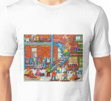 MONTREAL WINTER SCENE PORCHES AND BALCONIES STREET HOCKEY CANADIAN ART Unisex T-Shirt