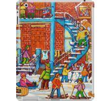 MONTREAL WINTER SCENE PORCHES AND BALCONIES STREET HOCKEY CANADIAN ART iPad Case/Skin