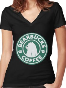 Bearbucks Coffee Women's Fitted V-Neck T-Shirt